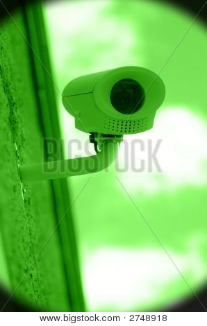 Nightvision Of Surveillance Camera On Building