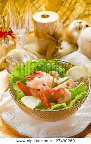 shrimp cocktail on golden table