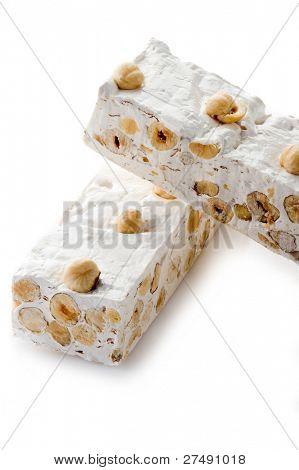 hazelnuts nougat isolated on white