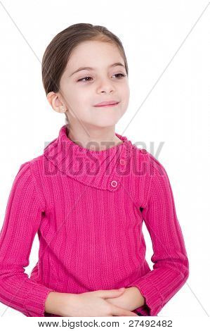 haughty little girl  on white background
