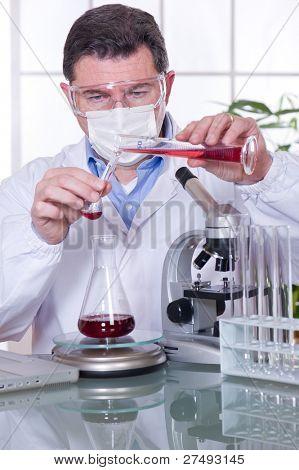 doctor at laboratory blood examination