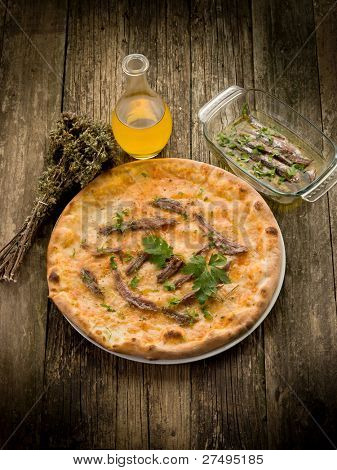 pizza napoli with anchovy and oregano