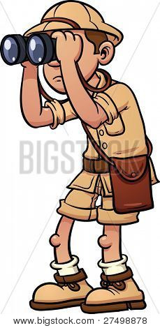 Cartoon safari explorer with binoculars. Vector illustration with simple gradients. All in a single layer.