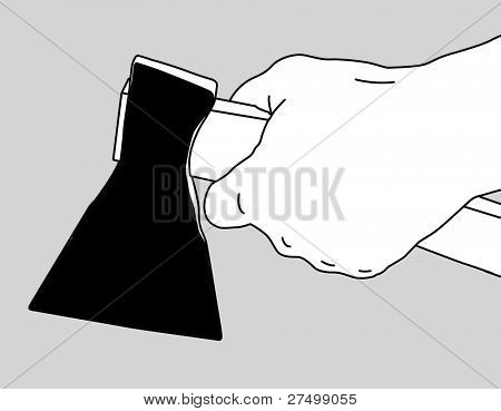 axe in hand on white background