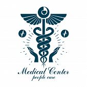 Pharmacy Caduceus Icon, Medical Logo Created With Heart Shape And Electrocardiogram Chart Symbol. Ca poster