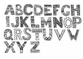 Hand Drawn Artistic Letters Set. Handdrawn Doodle Alphabet. Unique Zentangle Letters Collection. poster