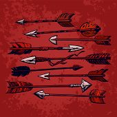 Set Of 9 Vintage Ethnic Indian Arrows Isolated On Red Old Shabby Background. Hand Drawn Vector Illus poster