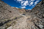Dangerous Trail Of Loose Scree And Talus Along The 20 Lakes Basin Trail To Helen Lake In Sierra Neva poster
