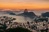 View Of Botafogo And The Sugarloaf Mountain By Sunset In Rio De Janeiro, Brazil poster