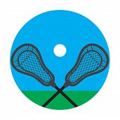 Lacrosse Realistic Net Sticks And Ball Icon poster