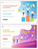 Achieving Business Excellence, Workers With Prize Vector. Rocket Startup Of Company, Person Leading  poster