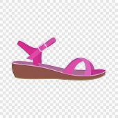 Pink Sandal Icon. Flat Illustration Of Pink Sandal Vector Icon For Web Design poster