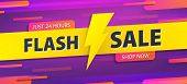Yellow Tag Flash Sale 24 Hour Promotion Website Banner Heading Design On Graphic Purple Background V poster