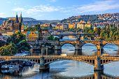 Manes Bridge, Charles Bridge And Legion Bridge View In Prague, C poster