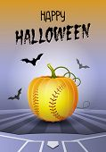 Happy Halloween. Sports Greeting Card. Realistic Softball Ball In The Shape Of A Pumpkin. Vector Ill poster