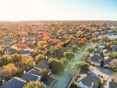 Top View Lakeside Houses And Fall Foliage Near Dallas, Texas poster