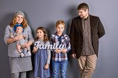 Mother, Father And Three Kids. Mother With Infant Baby, Two Senior Kids And Father, Family Portrait. poster