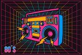 Retro Pop Party Eighties 80s Party Recorder, Neon Cartoon Style poster