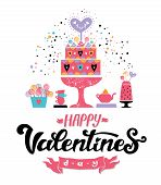 Happy Valentines Day Hand Drawn Lettering Design. Vector Illustration. Sweet Bar On Valentines Day,  poster