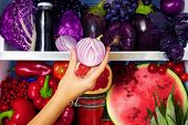 Summer Violet Healthy Organic Antioxidant Onion, Veggies Vegetables And Fruits: Cabbage, Eggplant, G poster