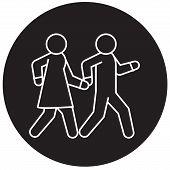 Couple Walks Holding Hands Together Black Vector Concept Icon. Couple Walks Holding Hands Together F poster
