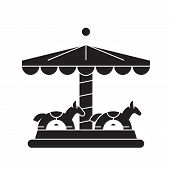 Merry-go-round Black Vector Concept Icon. Merry-go-round Flat Illustration, Sign poster