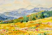 Watercolor Landscape Painting Colorful Of Mountain And Meadow In The Panorama View And Emotion Rural poster