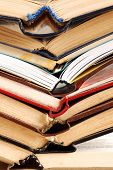 image of dust mites  - old dusty opened books stack on table - JPG