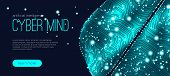 Cyber Mind, Artificial Intelligence Concept. Brain Analysis, Neural Connection Visualization. Futuri poster