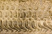 image of mahabharata  - Bas relief of Pandava soldiers marching to the Battle of Kurukshetra as described in the Mahabharata - JPG