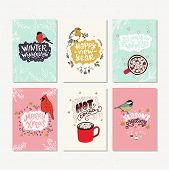Collection Of Hand Drawn Holiday Cards Or Posters. Hand Lettering With Christmas Saying, Quotes And  poster