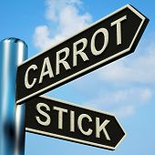 image of dangling a carrot  - Carrot Or Stick Directions On A Metal Signpost - JPG