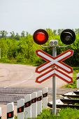 Railway Traffic Lights With A Red Signal. Railway And Road Crossing. Forbidding Motion Signal. poster