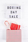 Creative Top View Flat Lay Promotion Composition Boxing Day Sale Text On Lightbox White Background C poster
