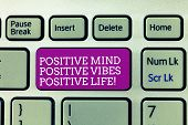 Conceptual Hand Writing Showing Positive Mind Positive Vibes Positive Life. Business Photo Text Moti poster