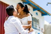 Cute Lovers Expressing Their Feelings Outdoors In The City Of Antioquia East Of Lima - Peru poster