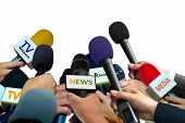 Press Conferance With Microphones Over White Background poster
