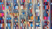 Container Ship In Export And Import Business Logistics And Transportation. Cargo And Container Box S poster