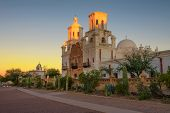 Sunrise At The San Xavier Mission Church In Tucson, Arizona. This Historic Spanish Catholic Mission  poster