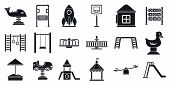 Outside Kid Playground Icon Set. Simple Set Of Outside Kid Playground Vector Icons For Web Design On poster