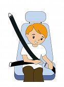 foto of seatbelt  - A Boy fastening seatbelt with Clipping Path - JPG