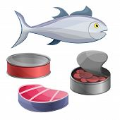 Tuna Icon Set. Cartoon Set Of Tuna Vector Icons For Web Design poster