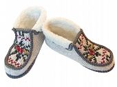 foto of budge  - The budge hand made knitted slippers with ornate - JPG
