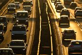 Heavy morning city traffic/congestion concept - cars going very slowly in a traffic jam during the m poster