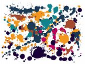 Paint Stains Grunge Background Vector. Random Ink Splatter, Spray Blots, Mud Spot Elements, Wall Gra poster