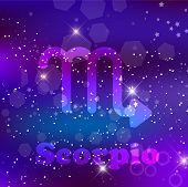 Scorpio Zodiac Sign On A Cosmic Purple Background With Sparkling Stars And Nebula. poster