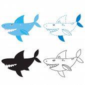 Shark Worksheet Vector Design, Shark Artwork Vector Design poster