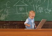 Genius Toddler Boy Use New Technology In Primary School. Genius Child Type Computer Keyboard. Commit poster