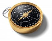 stock photo of compasses  - An old fashoned brass compass on a white background - JPG