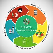 Concept Of A Healthy Plan For Type 1 Diabetes Management. Illustrates Self Management Of Type 1 Diab poster